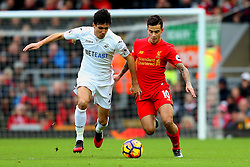 Philippe Coutinho of Liverpool and Jack Cork of Swansea City - Mandatory by-line: Matt McNulty/JMP - 21/01/2017 - FOOTBALL - Anfield - Liverpool, England - Liverpool v Swansea City - Premier League