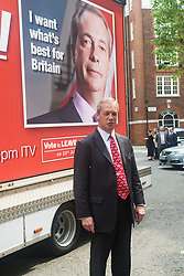 Smith Square, Westminster, London, June 7th 2016. UKIP Leader Nigel Farage launches a new campaign poster today outside Europe House ahead of a scheduled ITV Debate with the Prime Minister David Cameron.