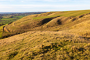 Ridges and dry valleys chalk scarp slope on Roundway Down, Wiltshire, England, UK
