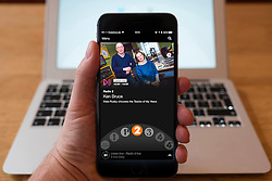 Using iPhone smartphone to display show on BBC radio 2 Network radio station