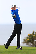 Joshua Hill (Galgorm Castle) on the 18th tee during Round 2 of the Connacht U16 Boys Amateur Open Championship at Galway Bay Golf Club, Oranmore, Galway on Wednesday 17th April 2019.<br /> Picture:  Thos Caffrey / www.golffile.ie