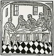 'A Dissection: Woodcut from a 1495 English transltion of ''De proprietatibus rerum'' by Bartholomaeus Anglicus (died 1272), printed by Wynkyn de Worde who continued Caxton's business after his death.'