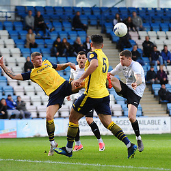 TELFORD COPYRIGHT MIKE SHERIDAN Matt Stenson of Telford (on loan from Solihull Moors) battles for the ball with Brad Nicholson during the Vanarama National League Conference North fixture between AFC Telford United and Guiseley on Saturday, October 19, 2019.<br /> <br /> Picture credit: Mike Sheridan/Ultrapress<br /> <br /> MS201920-026