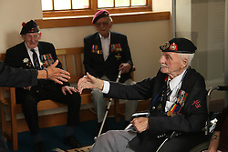 © Licensed to London News Pictures. 02/06/2014. Portsmouth, UK. D Day veteran 92 year old Royal Marine Jim Baker who landed on Juno beach in Normandy on D Day - he is travelling back to Normandy by ferry on 3rd June 2014 .  D-Day Veterans visit Portsmouth Historic Dockyard and the D-Day boats moored there including the MTB which carried Churchill and General Eisenhower on a review of the armada assembled for D-Day invasion.. Photo credit : Jason Bryant/LNP
