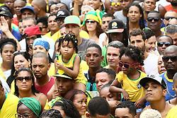 June 22, 2018 - Salvador, Brazil - SALVADOR, BA - 22.06.2018: TORCIDA DO BRASIL EM SALVADOR - Children in the middle of the Olodum crowd in Pelourinho, in Salvador, Bahia, during a game between Brazil and Costa Rica, valid for the 2018 World Cup in Russia. (Credit Image: © Mauro Akin Nassor/Fotoarena via ZUMA Press)