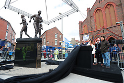 A statue celebrating Everton's 'Holy Trinity' - the celebrated midfield trio of Alan Ball, Howard Kendall and Colin Harvey is officially unveiled outside Goodison Park before Everton's final home game of the 2018/19 season.
