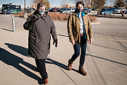 "27 OCTOBER 2020 - MARSHALLTOWN, IOWA: THERESA GREENFIELD, right, and SHARI KING, administrator of UnityPoint Health Marshalltown, during a visit to the medical complex. Greenfield, the Democratic candidate for US Senate, visited UnityPoint Health - Marshalltown Medical Park in Marshalltown, about 55 miles from Des Moines, and talked to administators and local officials about jobs at the medical center and the need for rural healthcare. It was a part of her ""Jobs That Need to Get Done"" tour and Get Out the Vote efforts before the Nov. 3 election. Greenfield is running against incumbent US Senator Joni Ernst, a Republican.             PHOTO BY JACK KURTZ"