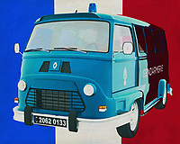 The 1965 Renault Estafette is a versatile van that was used by many companies. Because of its extremely solid quality, it was used in the harshest conditions; the French police also used it. I couldn't resist this symbol of French quality, because that's the Renault Estafette, in front of the French tricolor.<br />