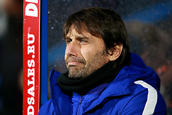 """Chelsea's manager Antonio Conte during the Premier League match at the John Smith's Stadium, Huddersfield. PRESS ASSOCIATION Photo. Picture date: Tuesday December 12, 2017. See PA story SOCCER Huddersfield. Photo credit should read: Mike Egerton/PA Wire. RESTRICTIONS: EDITORIAL USE ONLY No use with unauthorised audio, video, data, fixture lists, club/league logos or """"live"""" services. Online in-match use limited to 75 images, no video emulation. No use in betting, games or single club/league/player publications."""