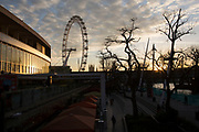 South Bank sunset looking towards the London Eye and Royal Festival Hall, London, England, United Kingdom.