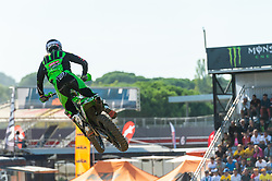 September 30, 2018 - Imola, BO, Italy - Tommy SEARLE (GBR) jumps with the Monster Energy Drink grandstand in the background during Race 1 of MXGP of Italy in Imola. (Credit Image: © Riccardo Righetti/ZUMA Wire)