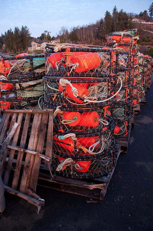 Crab Traps at Dawn at Ilwaco Harbor, Ilwaco, Washington, US
