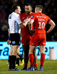 Billy Vunipola of Saracens and Owen Farrell of Saracens are spoken to by the referee - Mandatory by-line: Robbie Stephenson/JMP - 04/01/2019 - RUGBY - AJ Bell Stadium - Manchester, England - Sale Sharks v Saracens - Gallagher Premiership Rugby