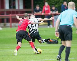 Inverness Caledonian Thistle's Alex Cooper (21) scoring their third goal. Brechin City 0 v 4 Inverness Caledonian Thistle, Scottish Championship game played 26/8/2017 at Brechin City's home ground Glebe Park.