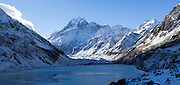 Panoramic view of Hooker Lake with Aoraki in the background; Aoraki/Mt. Cook National Park, New Zealand
