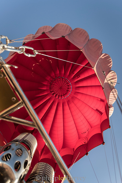 Low angle view from basket of hot air balloon, Atacama Desert, Chile