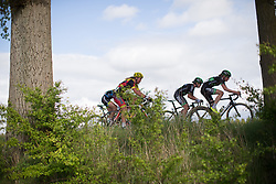 Riejanne Markus (NED) and Marianne Vos (NED) of WM3 Pro Cycling Team lead the peloton during the Omloop van Borsele - a 107.1 km road race, starting and finishing in s'-Heerenhoek on April 22, 2017, in Borsele, the Netherlands.