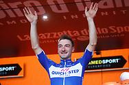 Podium Elia Viviani (ITA - QuickStep - Floors) celebration during the 101th Tour of Italy, Giro d'Italia 2018, stage 13, Ferrara - Nervesa della Battaglia 180 km on May 18, 2018 in Italy - Photo Luca Bettini / BettiniPhoto / ProSportsImages / DPPI
