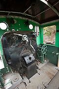 The cab of a locomotive at the railway museum in Nairobi, Kenya. The railway is rich with history, and integral in the developement of the country after being colonised by the British in the 19th century