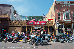 Before the start of the Legends Ride from Deadwood during the 75th Annual Sturgis Black Hills Motorcycle Rally.  SD, USA.  August 3, 2015.  Photography ©2015 Michael Lichter.