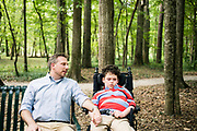 BIRMINGHAM, AL – AUGUST 26, 2018: Dr. Matthew Might enjoys time with his son, Bertrand, at the Jemison Park Nature Trail. Formerly a strategic leader appointed to the White House Precision Medicine Initiative by former President Barack Obama, Might was named the inaugural director of the Hugh Kaul Personalized Medicine Institute at the University of Alabama at Birmingham School of Medicine. CREDIT: Bob Miller for The New York Times