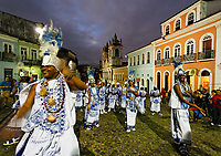 samba dancers in front iglesias rosario dos pretos in pelourinho area in the beautiful city of salvador in bahia state brazil