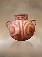 Very early Minoan round pot with white and red linear motifs,  vaulted tombs Lebena 3000-2100 BC BC, Heraklion Archaeological  Museum.<br /> <br /> Made of grey clay these pots are the earliest found in the Lebena vaulted tombs .<br /> <br /> If you prefer to buy from our ALAMY PHOTO LIBRARY  Collection visit : https://www.alamy.com/portfolio/paul-williams-funkystock/minoan-art-artefacts.html . Type -   Heraklion   - into the LOWER SEARCH WITHIN GALLERY box. Refine search by adding background colour, place, museum etc<br /> <br /> Visit our MINOAN ART PHOTO COLLECTIONS for more photos to download  as wall art prints https://funkystock.photoshelter.com/gallery-collection/Ancient-Minoans-Art-Artefacts-Antiquities-Historic-Places-Pictures-Images-of/C0000ricT2SU_M9w