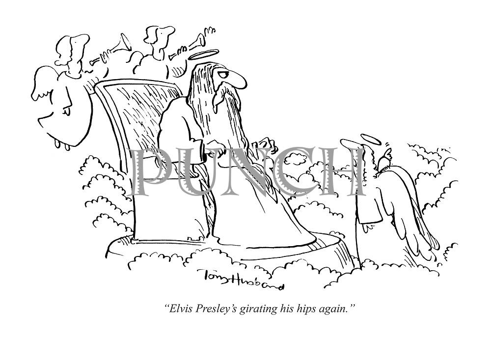 """Elvis Presley's girating his hips again."""