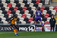 Tranmere Rover's Jay Spearing (8) heads away during the EFL Sky Bet League 2 match between Newport County and Tranmere Rovers at Rodney Parade, Newport, Wales on 17 October 2020.