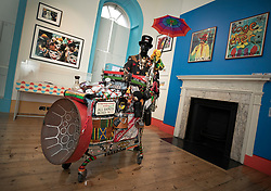 © Licensed to London News Pictures. 11/06/2019. London, UK. Ishmahil Blagrove Jr's 'Carnival Trolley, 2016' is shown at the 'Get Up, Stand Up Now: Generations of Black Creative Pioneers' exhibition at Somerset House, London. This major new exhibition celebrates the past 50 years of Black creativity in Britain and beyond. Beginning with the radical Black filmmaker Horace Ové and his dynamic circle of Windrush generation creative peers and extending to today's brilliant young Black talent globally, a group of around 100 interdisciplinary artists are showcasing their work together for the first time, exploring Black experience and influence, from the post-war era to the present day. The exhibition opens on June 12, 2019 and runs until September 15, 2019.  Photo credit: Peter Macdiarmid/LNP