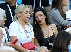 Megan Davison, girlfriend of England goalkeeper Jordan Pickford (left) and Annie Kilner, girlfriend of England's Kyle Walker in the stands before the FIFA World Cup Group G match at Kaliningrad Stadium.