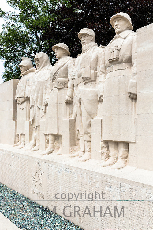 World War One Monument to the Sons of Verdun in Verdun, France - 'On Ne Passe Pas' - cavalryman, territorial, infantryman, colonial soldier, artilleryman and names of those who died