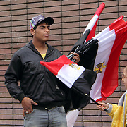 On the day of a big rally, this flag vendor near Cairo's Tahrir Square is assured of very good business.
