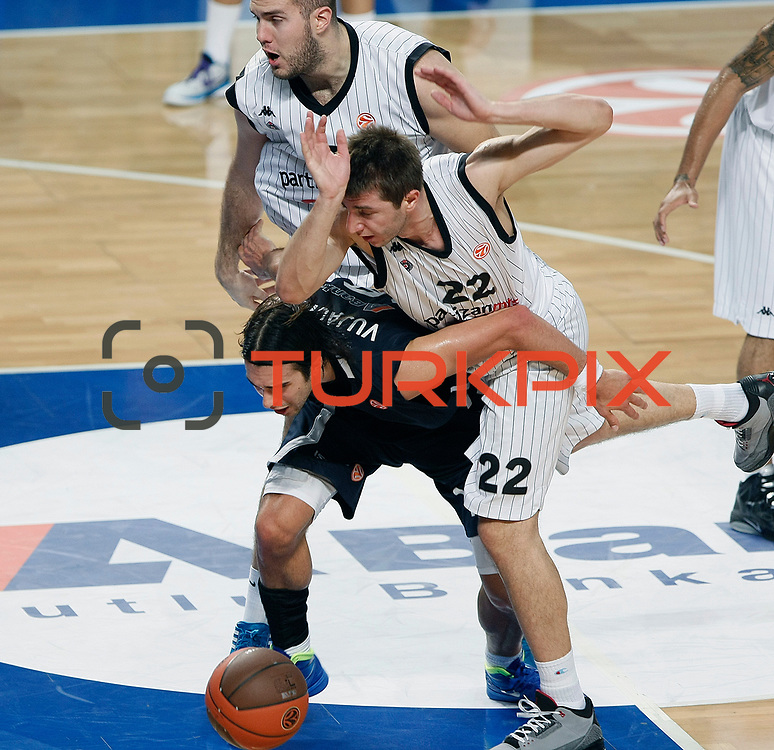 Anadolu Efes's Sasha VUJACIC (L) and Partizan's Marko CAKAREVIC (R) during their Turkish Airlines Euroleague Basketball Group C Game 6 match Anadolu Efes between Partizan at Sinan Erdem Arena in Istanbul, Turkey, Wednesday, November 23, 2011. Photo by TURKPIX