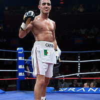 19 November 2009: Redouane Asloum poses after his fight against Kemal Plavci during the Grand Tournoi boxing semi finals event at Cirque d'Hiver in Paris, France.