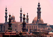 EGYPT, CAIRO the Old City or Islamic Quarter with the domes and minarets of the Rifa'i and Sultan  Hassan Mosques