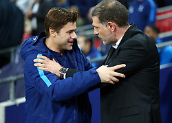 October 25, 2017 - London, England, United Kingdom - L-R Tottenham Hotspur manager Mauricio Pochettino  and West Ham United manager Slaven Bilic .during Carabao Cup 4th Round match between Tottenham Hotspur and West Ham United at Wembley Stadium, London,  England on 25 Oct  2017. (Credit Image: © Kieran Galvin/NurPhoto via ZUMA Press)