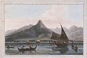 ANJERE Point is on the Java side, half way up the straits of Sunda. colour print from the book ' A Picturesque Voyage to India by Way of China  ' by Thomas Daniell, R.A. and William Daniell, A.R.A. London : Printed for Longman, Hurst, Rees, and Orme, and William Daniell by Thomas Davison, 1810. The Daniells' original watercolors for the scenes depicted herein are now at the Yale Center for British Art, Department of Rare Books and Manuscripts,
