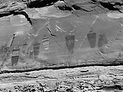 Image of ancient pictographs created by Native Americans; Horseshoe Canyon, Canyonlands National Park, Emery County, Utah, USA.