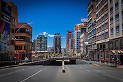 View of the tunnel of Plaza Bicentenario, which devides the traffic of Avenues Arce  and 6th of August. Usually this road is full of traffic, but with the restrictions for Election Day is completely empty. Such sanctions turn La Paz into an almost ghost town. During elections period in  Bolivia, the country faces several restrictions, like no alcohol for sale 48 hours before and 12 after the election; no public gatherings, shows of any kind until the political parties made their speeches on the election night; its completely forbidden the circulation of any vehicles, private or governmental except with the permit from the Electoral Tribunal, which means it would be basically no cars, buses or anything circulating in the city; no long distance buses, the terminal will be close from Saturday until Monday and even flights will not be allowed except the ones leaving the country or the international ones doing stop-over. It is a completely shut down of the country.