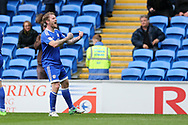 Aron Gunnarsson of Cardiff city celebrates after he scores his teams 1st goal. EFL Skybet championship match, Cardiff city v Nottingham Forest at the Cardiff City Stadium in Cardiff, South Wales on Easter Monday 17th April 2017.<br /> pic by Andrew Orchard, Andrew Orchard sports photography.