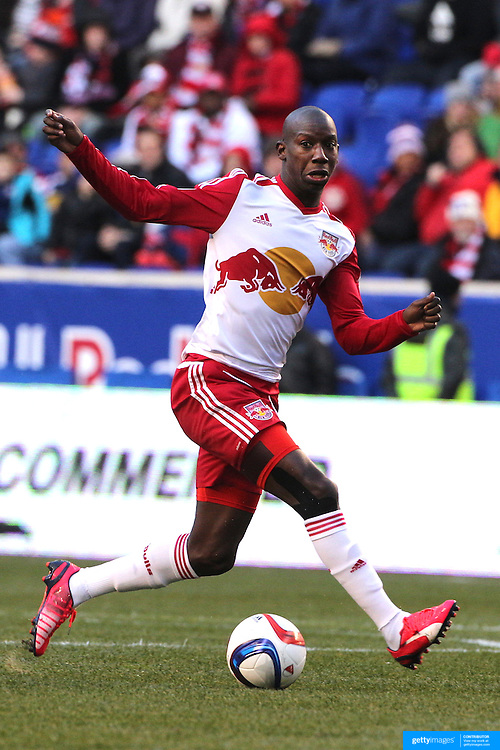 Bradley Wright-Phillips, New York Red Bulls, in action during the New York Red Bulls Vs D.C. United Major League Soccer regular season match at Red Bull Arena, Harrison, New Jersey. USA. 22nd March 2015. Photo Tim Clayton