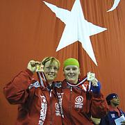 2. WOMEN'S WORLD BOXING CHAMPIONSHIPS.<br /> Denmark's Bettina KARSLEN (R) silver medal with Tina Hansen bronz medal(L). Dilek Sabanci Sport Hall Antalya/Turkey<br /> Photo by Aykut AKICI/TurkSporFoto