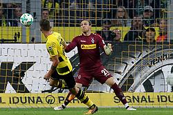 DORTMUND, Sept. 24, 2017  Maximilian Philipp (L) of Borussia Dortmund scores during the Bundesliga match between Borussia Dortmund and Borussia Moenchengladbach at the Signal Iduna Park in Dortmund, Germany, on Sept. 23, 2017. Dortmund won the match by 6-1. (Credit Image: © Joachim Bywaletz/Xinhua via ZUMA Wire)