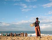 Fishermen bring in their catch before the monsoon rains begin, Odayam Beach, Kerala, India
