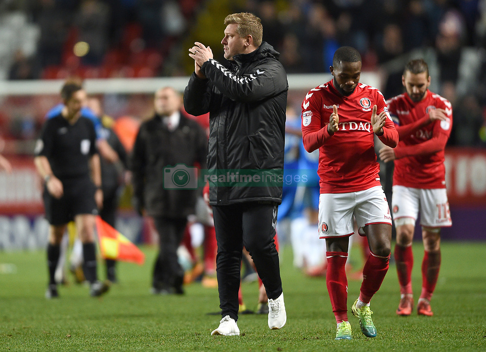 Charlton Athletic Manager Karl Robinson applauds the home fans at full time
