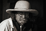 A hat maker at one of Southern Wyoming's historic Mountain Man Rendezvous.