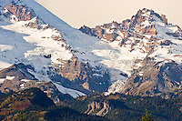 Little Tahoma Peak on Mount Rainier with Ingraham Glacier (middle) Gibraltar Rock (upper left) and the Cowlitz Glacier on the left. Mount Rainier National Park, WA USA