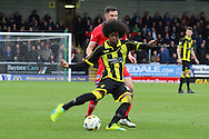 Burton Albion midfielder Hamza Choudhury puts in a cross during the Sky Bet League 1 match between Burton Albion and Oldham Athletic at the Pirelli Stadium, Burton upon Trent, England on 26 March 2016. Photo by Aaron Lupton.