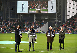 Jason Roberts (second left) nephew of Cyrille Regis speaks during a memorial to his Uncle ahead of the Premier League match at The Hawthorns, West Bromwich.